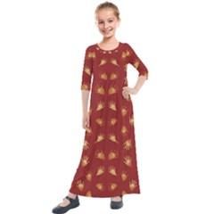 Primitive Art Hands Motif Pattern Kids  Quarter Sleeve Maxi Dress