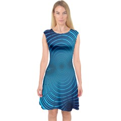 Background Brush Particles Wave Capsleeve Midi Dress