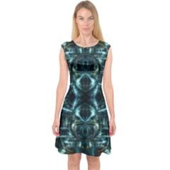 Abstract Fractal Magical Capsleeve Midi Dress