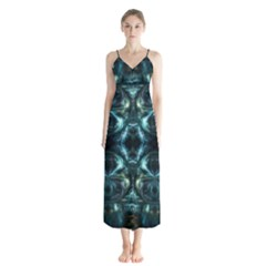 Abstract Fractal Magical Button Up Chiffon Maxi Dress