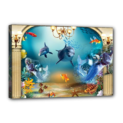 Dolphin Art Creation Natural Water Canvas 18  X 12  by Sapixe