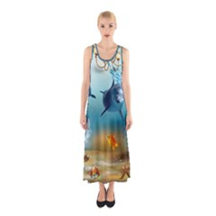 Dolphin Art Creation Natural Water Sleeveless Maxi Dress