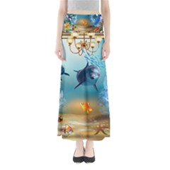 Dolphin Art Creation Natural Water Full Length Maxi Skirt