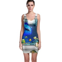 Dolphin Art Creation Natural Water Bodycon Dress