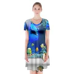 Dolphin Art Creation Natural Water Short Sleeve V Neck Flare Dress