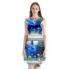 Dolphin Art Creation Natural Water Sleeveless Chiffon Dress
