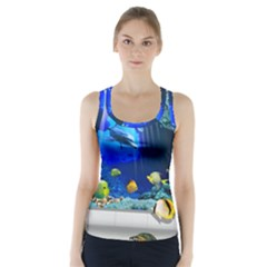Dolphin Art Creation Natural Water Racer Back Sports Top