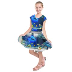 Dolphin Art Creation Natural Water Kids  Short Sleeve Dress