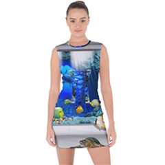 Dolphin Art Creation Natural Water Lace Up Front Bodycon Dress