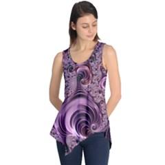 Purple Abstract Art Fractal Sleeveless Tunic