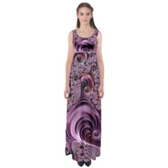 Purple Abstract Art Fractal Empire Waist Maxi Dress