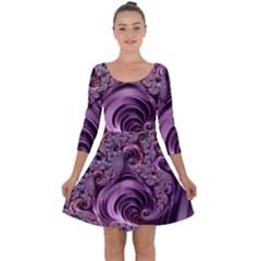 Purple Abstract Art Fractal Quarter Sleeve Skater Dress