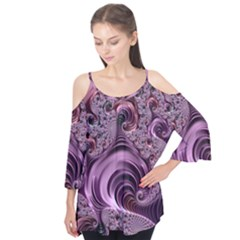 Purple Abstract Art Fractal Flutter Tees