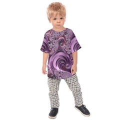 Purple Abstract Art Fractal Kids Raglan Tee