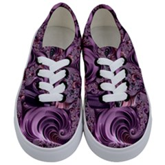 Purple Abstract Art Fractal Kids  Classic Low Top Sneakers