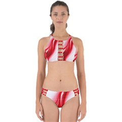 Flame Red Fractal Energy Fiery Perfectly Cut Out Bikini Set