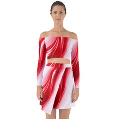 Flame Red Fractal Energy Fiery Off Shoulder Top With Skirt Set
