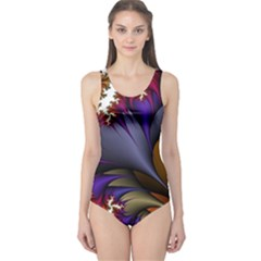 Flora Entwine Fractals Flowers One Piece Swimsuit