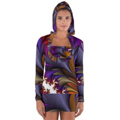 Flora Entwine Fractals Flowers Long Sleeve Hooded T Shirt by Sapixe