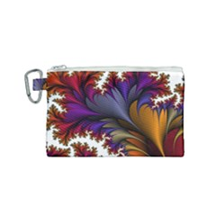 Flora Entwine Fractals Flowers Canvas Cosmetic Bag (small)