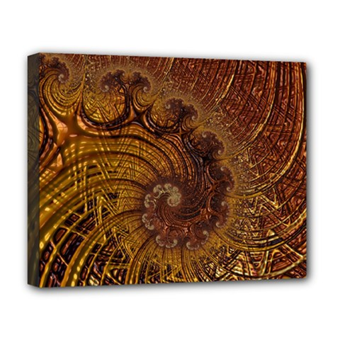 Copper Caramel Swirls Abstract Art Deluxe Canvas 20  X 16
