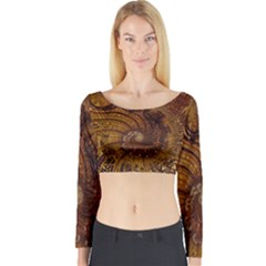 Copper Caramel Swirls Abstract Art Long Sleeve Crop Top