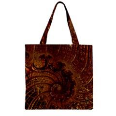 Copper Caramel Swirls Abstract Art Zipper Grocery Tote Bag