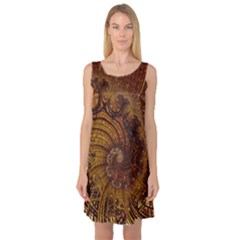 Copper Caramel Swirls Abstract Art Sleeveless Satin Nightdress