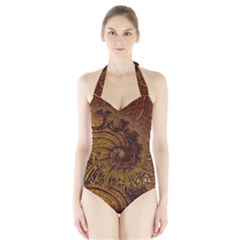 Copper Caramel Swirls Abstract Art Halter Swimsuit