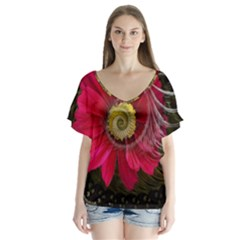 Fantasy Flower Fractal Blossom V Neck Flutter Sleeve Top