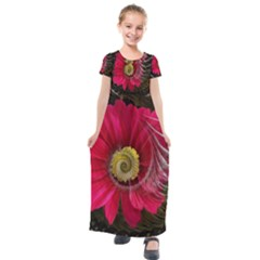 Fantasy Flower Fractal Blossom Kids  Short Sleeve Maxi Dress