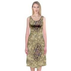 Fractal Art Colorful Pattern Midi Sleeveless Dress