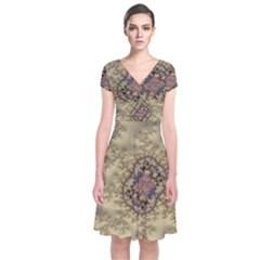Fractal Art Colorful Pattern Short Sleeve Front Wrap Dress