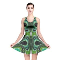 Fractal Art Green Pattern Design Reversible Skater Dress
