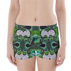 Fractal Art Green Pattern Design Boyleg Bikini Wrap Bottoms