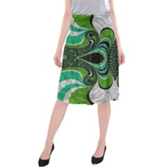 Fractal Art Green Pattern Design Midi Beach Skirt