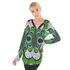 Fractal Art Green Pattern Design Tie Up Tee