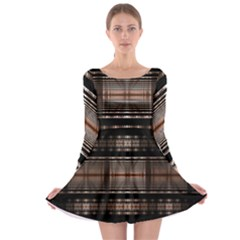 Fractal Art Design Geometry Long Sleeve Skater Dress