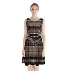 Fractal Art Design Geometry Sleeveless Waist Tie Chiffon Dress