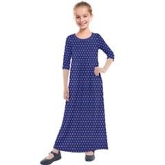 Blue Fractal Art Honeycomb Mathematics Kids  Quarter Sleeve Maxi Dress