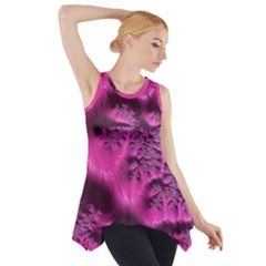 Fractal Artwork Pink Purple Elegant Side Drop Tank Tunic