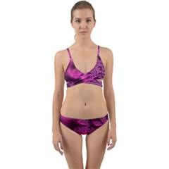 Fractal Artwork Pink Purple Elegant Wrap Around Bikini Set