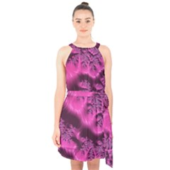 Fractal Artwork Pink Purple Elegant Halter Collar Waist Tie Chiffon Dress