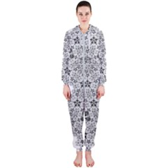 Fractal Background Foreground Hooded Jumpsuit (ladies)
