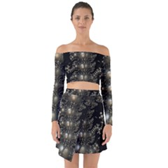 Fractal Math Geometry Backdrop Off Shoulder Top With Skirt Set