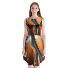 Fractal Structure Mathematics Sleeveless Chiffon Dress