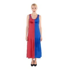 Red And Blue Sleeveless Maxi Dress