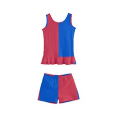 Red And Blue Kid s Boyleg Swimsuit