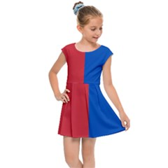 Red And Blue Kids Cap Sleeve Dress