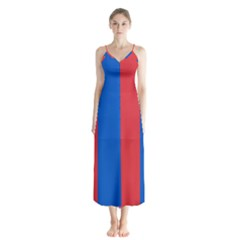 Red And Blue Button Up Chiffon Maxi Dress